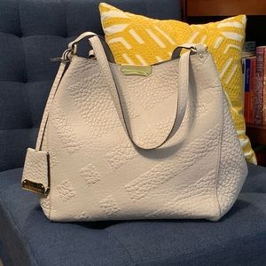 Burberry Small Leather Canter in Light Grey